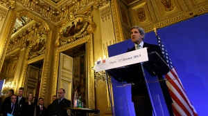 U.S. Secretary of State John Kerry holds a news conference at the Foreign Ministry in Paris on Wednesday, Feb. 27, 2013. Paris is the third leg of Kerry's first official overseas trip, a hectic nine-day dash through Europe and the Middle East. (AP Photo / Jacquelyn Martin, Pool)