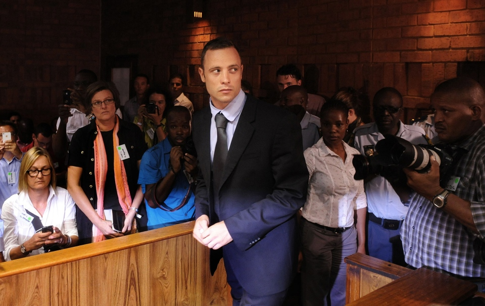 Olympic athlete Oscar Pistorius arrives for a bail hearing in the shooting death of his girlfriend, Reeva Steenkamp on Feb. 22, 2013. (AP Photo)