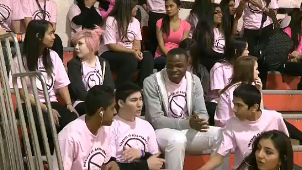 Hundreds of students at M.E. LaZerte High School took part in the anti-bullying campaign by wearing pink shirts in a show of solidarity against bullying.