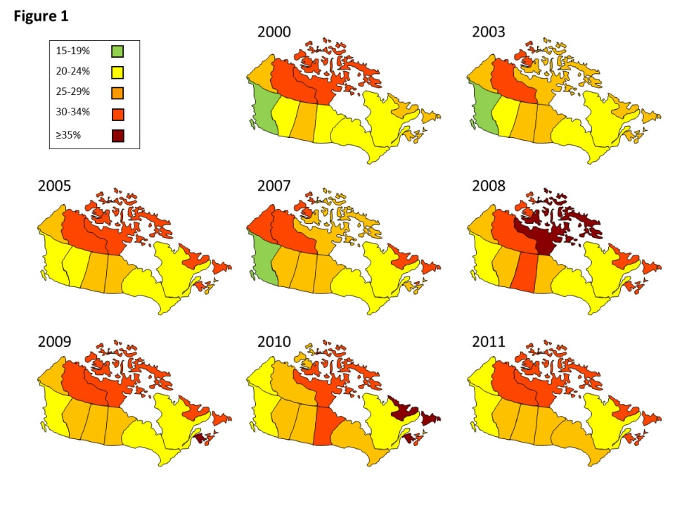 Estimated prevalence of obesity in Canadian adults by province (2000-2011).