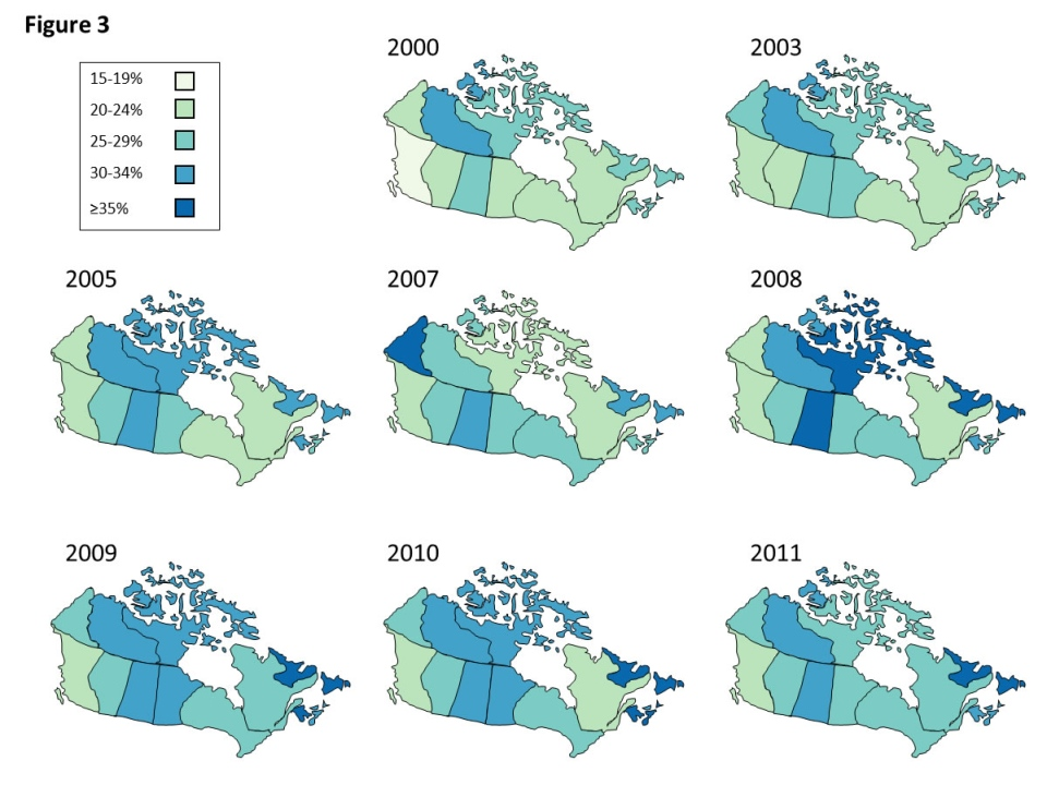 Estimated prevalence of obesity in Canadian adult men by province (2000-2011).