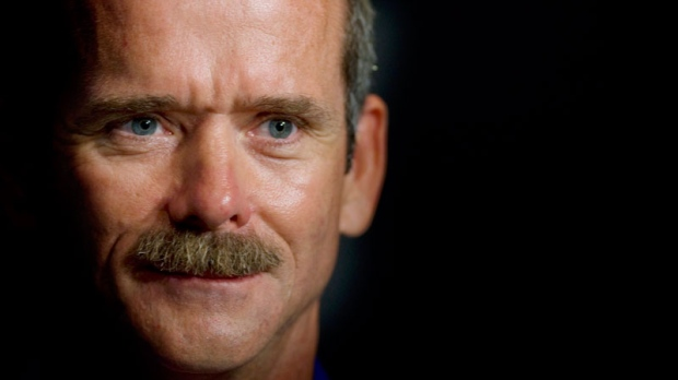 Astronaut Chris Hadfield smiles following a press conference at the Canadian Space Agency in Longueuil, Que., on September 2, 2010. (Graham Hughes / THE CANADIAN PRESS)