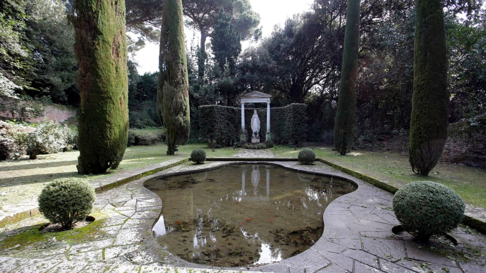 A view of the garden of pope's summer residence of Castel Gandolfo, in the town of Castelgandolfo, south of Rome, Wednesday, Feb. 20, 2013. (AP Photo / Gregorio Borgia)