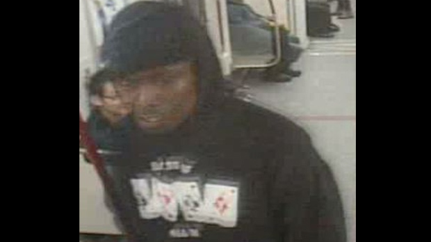Toronto police released this photo of a man as they look for a suspect in a stabbing that occurred aboard a subway train Wednesday, Feb. 27, 2013. (Handout)