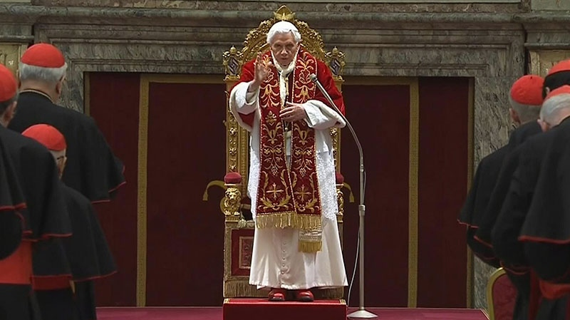 Pope Benedict XVI delivers his final greetings to the assembly of cardinals at the Vatican, Thursday, Feb. 28, 2013. (Vatican TV)