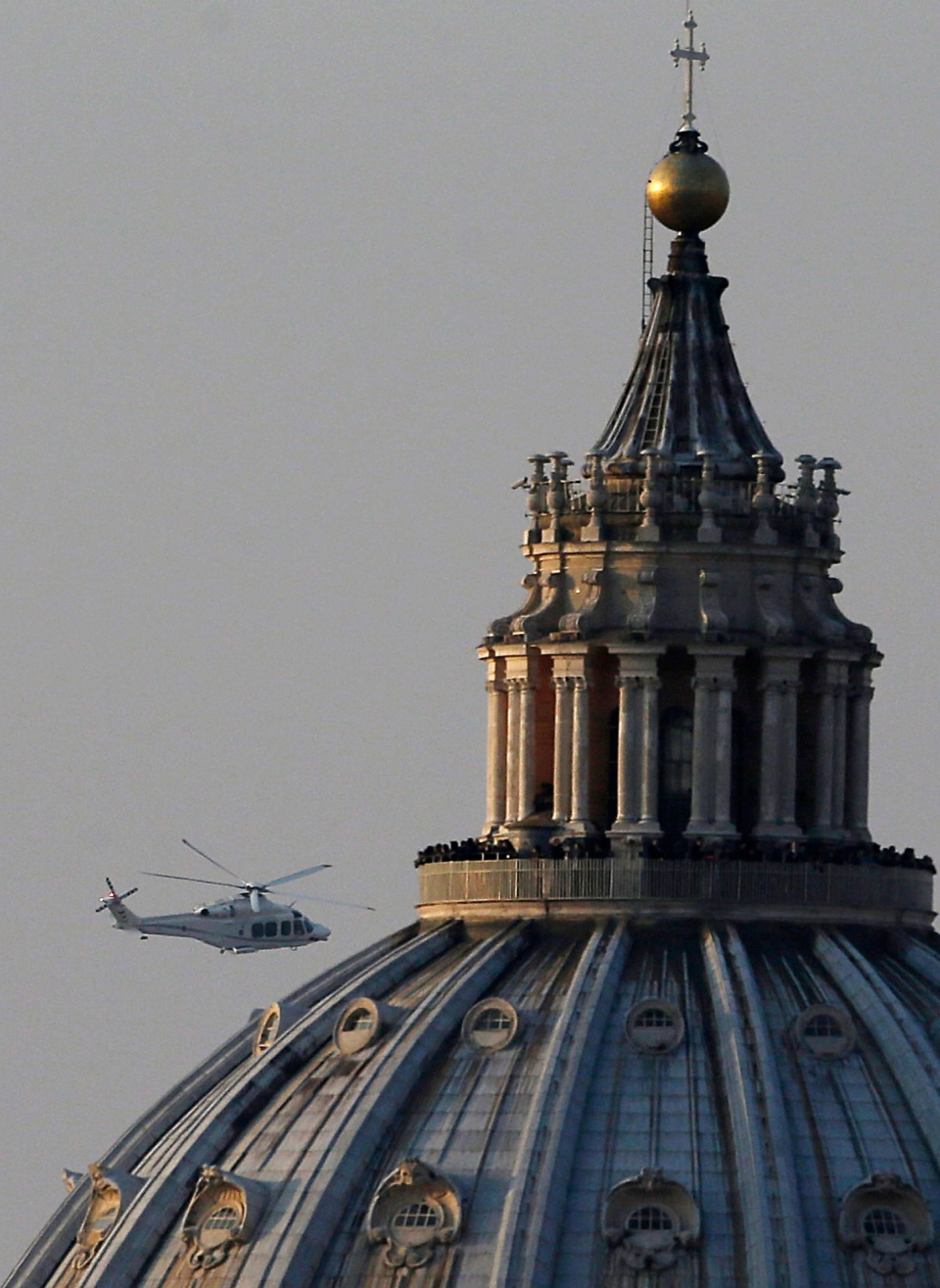The helicopter takes Pope Benedict XVI to Castel Gandolfo leaves the Vatican, Thursday, Feb. 28, 2013. (AP / Gregorio Borgia)