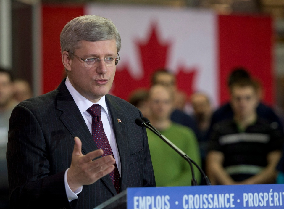 Prime Minister Stephen Harper makes an announcement in Riviere-du-Loup Que., Thursday, Feb. 28, 2013. (Jacques Boissinot / THE CANADIAN PRESS)