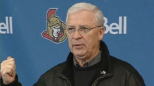 Ottawa Senators General Manager Bryan Murray responds to questions from reporters, Monday, Jan. 24, 2011.