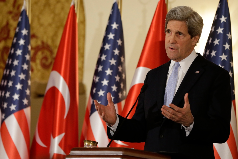 U.S. Secretary of State John Kerry speaks during a news conference with Turkish Foreign Minister Ahmet Davutoglu, not pictured, at Ankara Palace in Ankara, Turkey, on Friday, March 1, 2013. (AP Photo/Jacquelyn Martin, Pool)