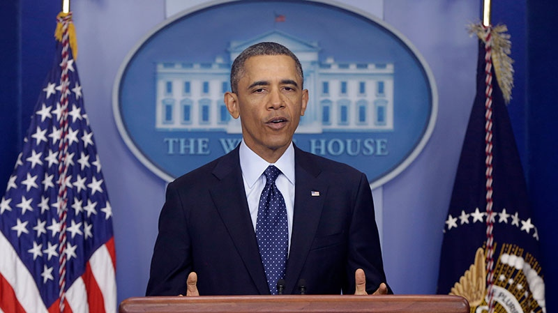 President Barack Obama speaks to reporters in the White House briefing room in Washington, Friday, March 1, 2013. (AP / Charles Dharapak)