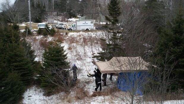 Investigators search a wooded area of East Chezzetcook, N.S. where Nadine Taylor's remains were found last month.