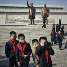 North Korean school boys play