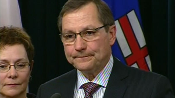 Alberta Premier Ed Stelmach announces his resignation, Tuesday, Jan. 25, 2011.