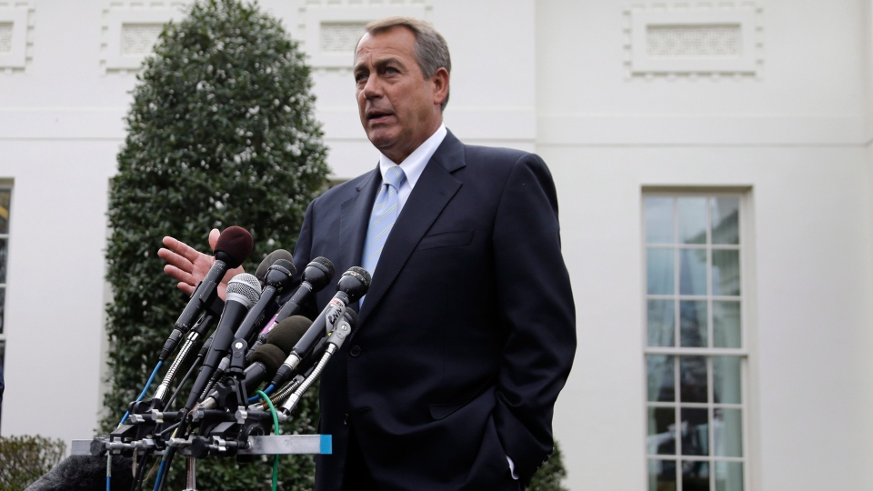 U.S. House Speaker John Boehner speaks to reporters outside the White House in Washington, Friday, March 1, 2013. (AP / Carolyn Kaster)