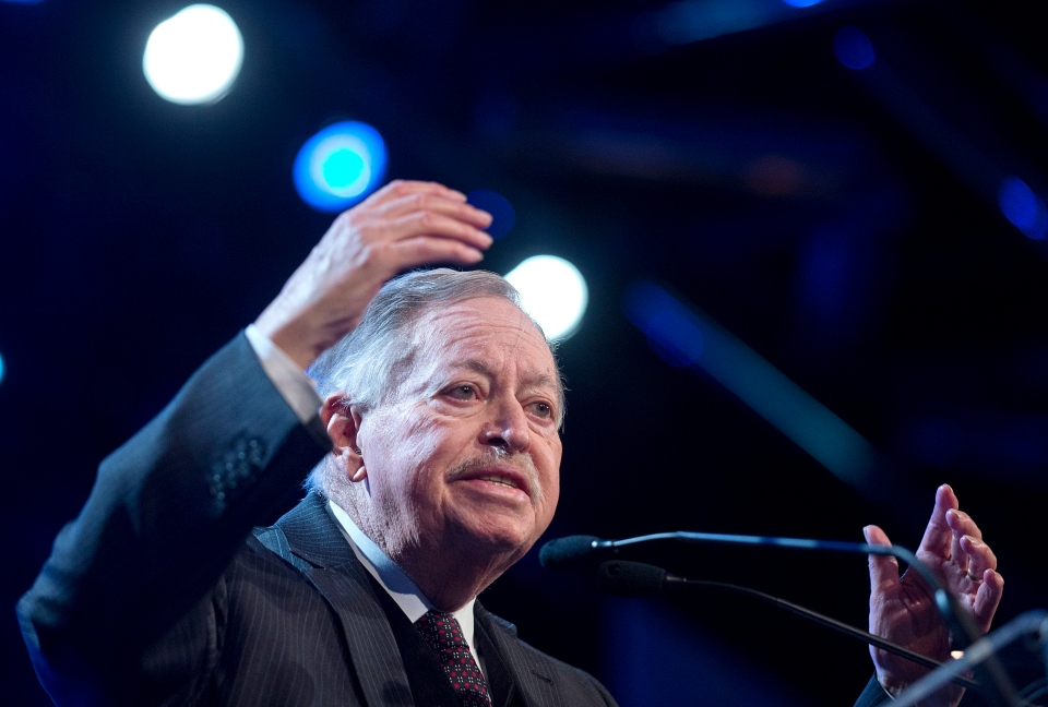 Former Quebec premier Jacques Parizeau addresses party delegates at the Option nationale congress in Montreal Saturday, March 2, 2013. (Graham Hughes / THE CANADIAN PRESS)