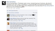 This screengrab shows the hacked Facebook page of the social network's CEO Mark Zuckerberg, Tuesday, Jan. 25, 2011.