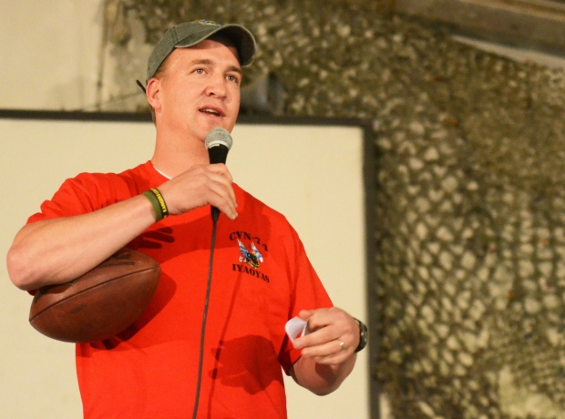 Peyton Manning addresses troops in Afghanistan