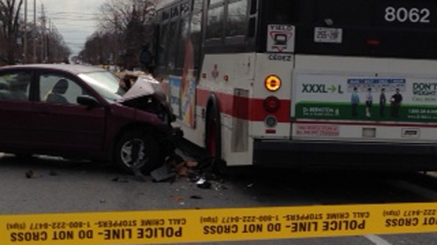 Driver taken to hospital after collision with TTC bus