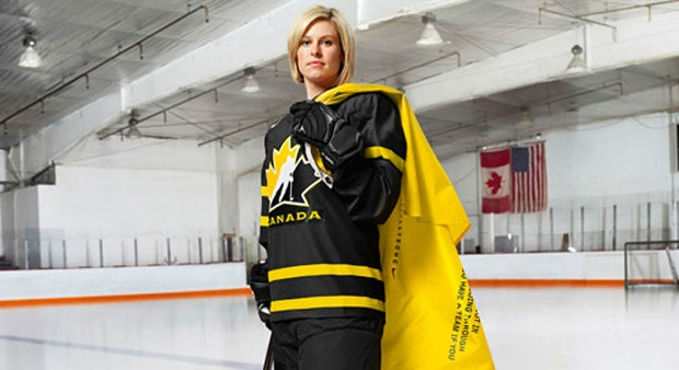 Livestrong ambassador and Team Canada member Tessa Bonhomme is shown here wearing the jersey her team will don for the opening game against the U.S. during an April tournament in Ottawa. (Photo courtesy of Hockey Canada)