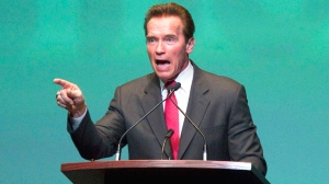 Former California governor and Hollywood action star Arnold Schwarzenegger speaks at an event in Toronto, Ont. Wednesday, Jan. 26, 2011. (Darren Calabrese / THE CANADIAN PRESS)