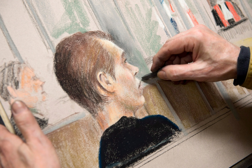 Artist Mike McLaughlin puts the finishing touch on a drawing of alleged killer Luka Rocco Magnotta seen in court Wednesday, January 9, 2013 in Montreal. (THE CANADIAN PRESS/Paul Chiasson)