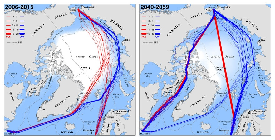 Fastest trans-Arctic routes during September at present and by midcentury (2040-2059), for hypothetical ships seeking to cross the Arctic Ocean between the North Atlantic and the Pacific. Red lines indicate fastest available routes for Polar Class 6 icebreakers; blue lines indicate fastest available routes for common open-water ships. (full paper citation: L.C. Smith and S.R. Stephenson (2013), 'New Trans-Arctic shipping routes navigable by midcentury,' Proceedings of the National Academy of Sciences Plus (PNAS Plus), DOI 10.1073/pnas.1214212110)