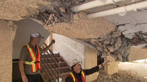 A B.C. engineer says modern buildings constructed with six-inch concrete walls, like the ones in many West Coast apartments, are not as earthquake safe as previously believed.  Jan. 26, 2011. (CTV)