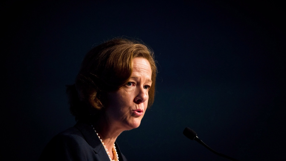 Alberta Premier Alison Redford speaks at the Canadian Bar Association's annual legal conference in Vancouver, B.C., on Tuesday, August 14, 2012. (Darryl Dyck/THE CANADIAN PRESS)