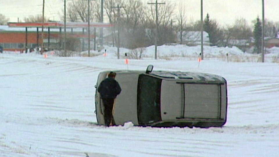 A storm blasted across the Southern Prairies causing chaos for commuters.