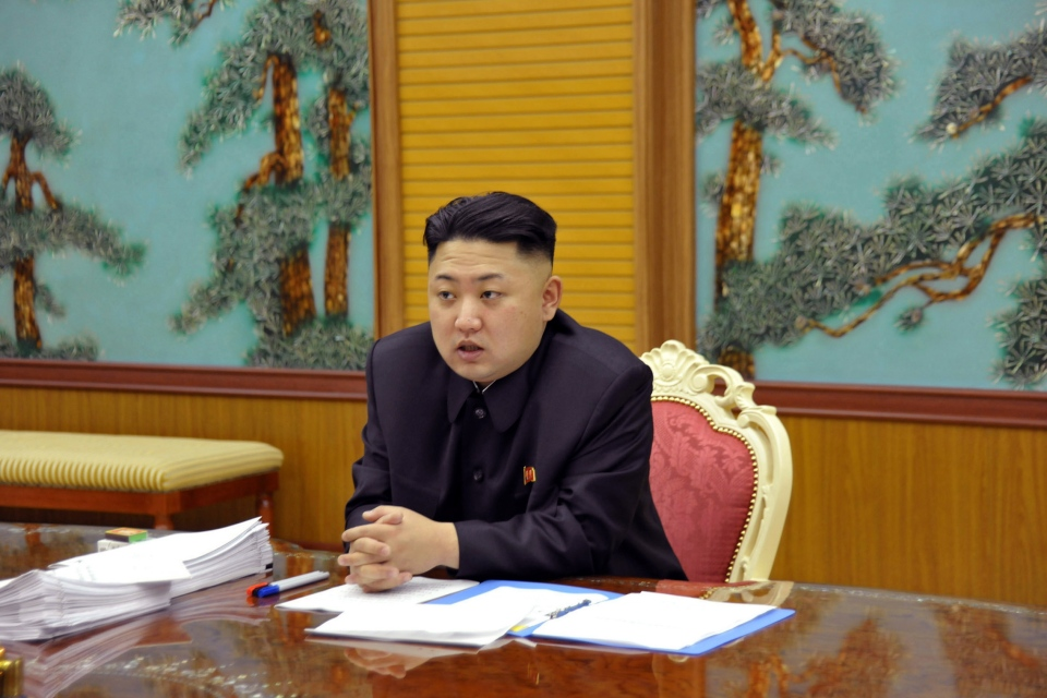 North Korean leader Kim Jong Un attends a consultative meeting with officials in the fields of state security and foreign affairs at undisclosed location in North Korea, Sunday, Jan. 27, 2013.