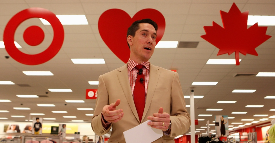 Tony Fisher, President of Target Canada, speaks to the media during a tour of the new Target store in Guelph, Ontario. (Dave Chidley / THE CANADIAN PRESS)