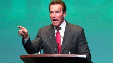 Former California governor and Hollywood action star Arnold Schwarzenegger speaks at an event in Toronto, Ont. Wednesday, January 26, 2011. (Darren Calabrese / THE CANADIAN PRESS)