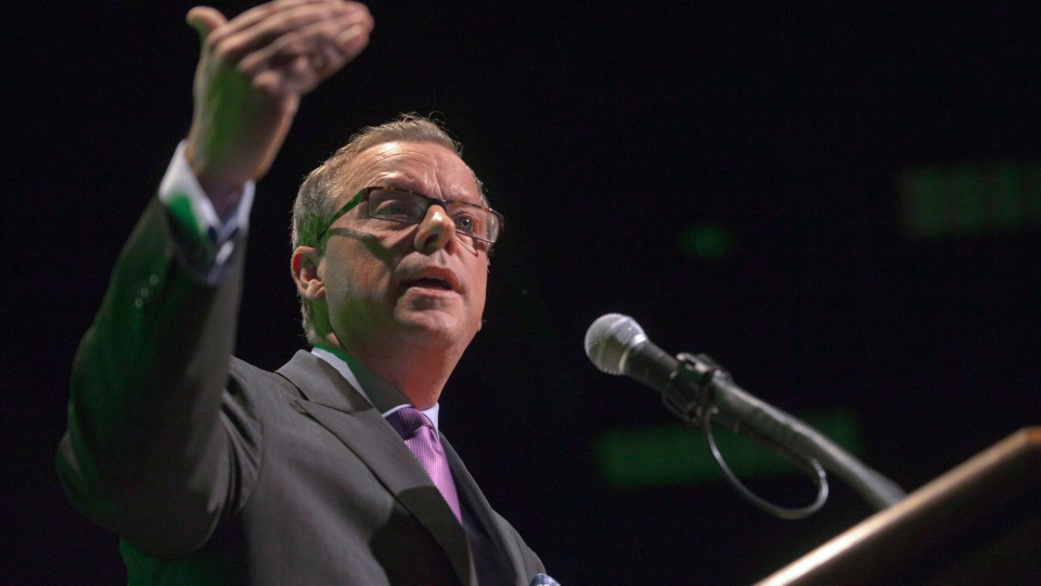 Premier Brad Wall addresses the Saskatchewan Chamber of Commerce and unveils the Saskatchewan Plan for Growth at Teachers Credit Union Center in Saskatoon, Sask., Tuesday, Oct. 16, 2012. (Liam Richards / THE CANADIAN PRESS)