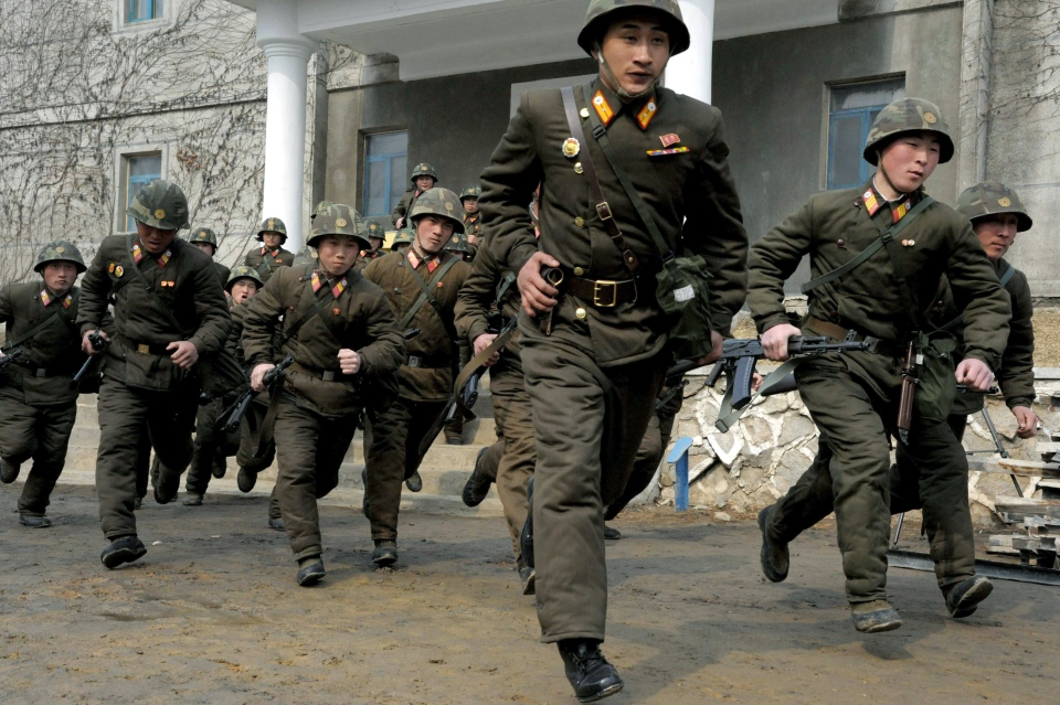 Soldiers of Kim Il Sung Military University perform military training on Wednesday, March 6, 2013, in Pyongyang, North Korea. (AP / Kim Kwang Hyon)