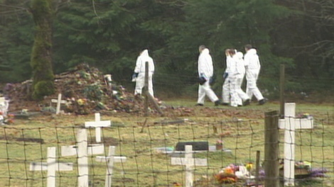 Members of the RCMP Forensic Identification Section are seen in the area where the body of 18-year-old Tyeshia Jones was found on Jan. 28, 2011. (CTV)