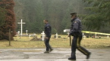 An RCMP officer ropes off the area around where Tyeshia Jones' body was found in Duncan, B.C. on Jan. 28, 2011. (CTV)