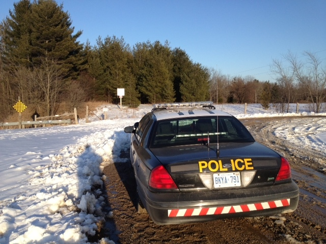 OPP investigate after a body was found at the Whittaker Lake Conservation Area southeast of London, Ont. on Tuesday, March 5, 2013. (Daryl Newcombe / CTV London)