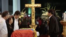 President Hugo Chavez on display during his wake