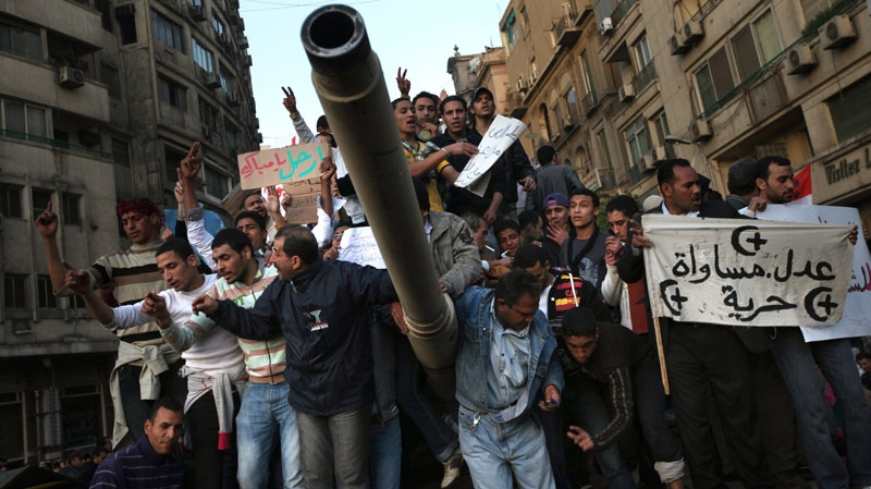 Egyptian anti-governement protesters demonstrate in Tahrir Square, in Cairo, Egypt, Saturday, Jan. 29, 2011. (AP / Tara Todras-Whitehill)