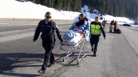 Rescue crews airlift a 50-year-old snowshoer off Hollyburn Peak on Sunday, Jan. 30, 2011. (CTV)