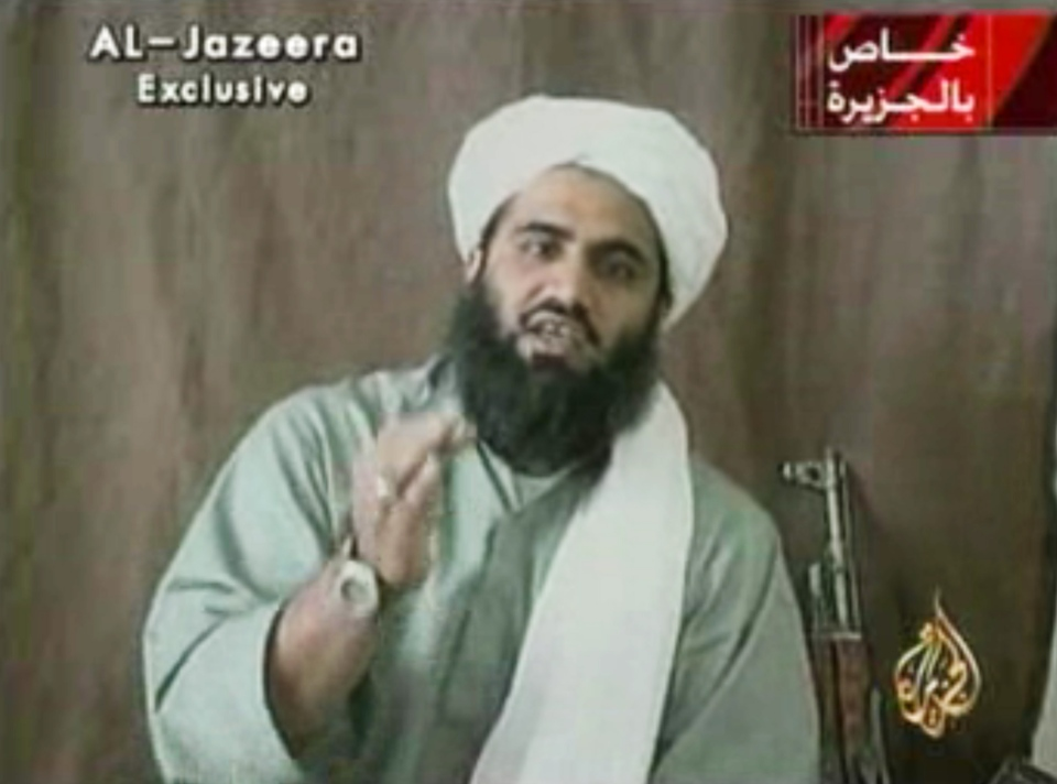 This image made available by Al-Jazeera shows Sulaiman Abu Ghaith, Osama bin Laden's son-in-law and spokesman. (AP/Al-Jazeera)