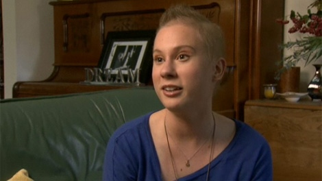 Megan McNeil speaks to Canada AM in Dec. 2011. McNeil was diagnosed with a rare form of cancer at the age of 16. (CTV)