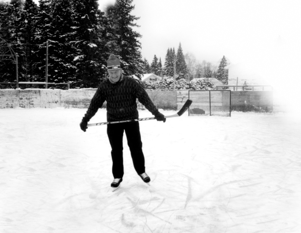 "In a photo from the book ""Le journaliste et le cardinal"", Cardinal Marc Ouellet skates on an outdoor rink wearing a Habs tuque in this undated image. (Novalis)"