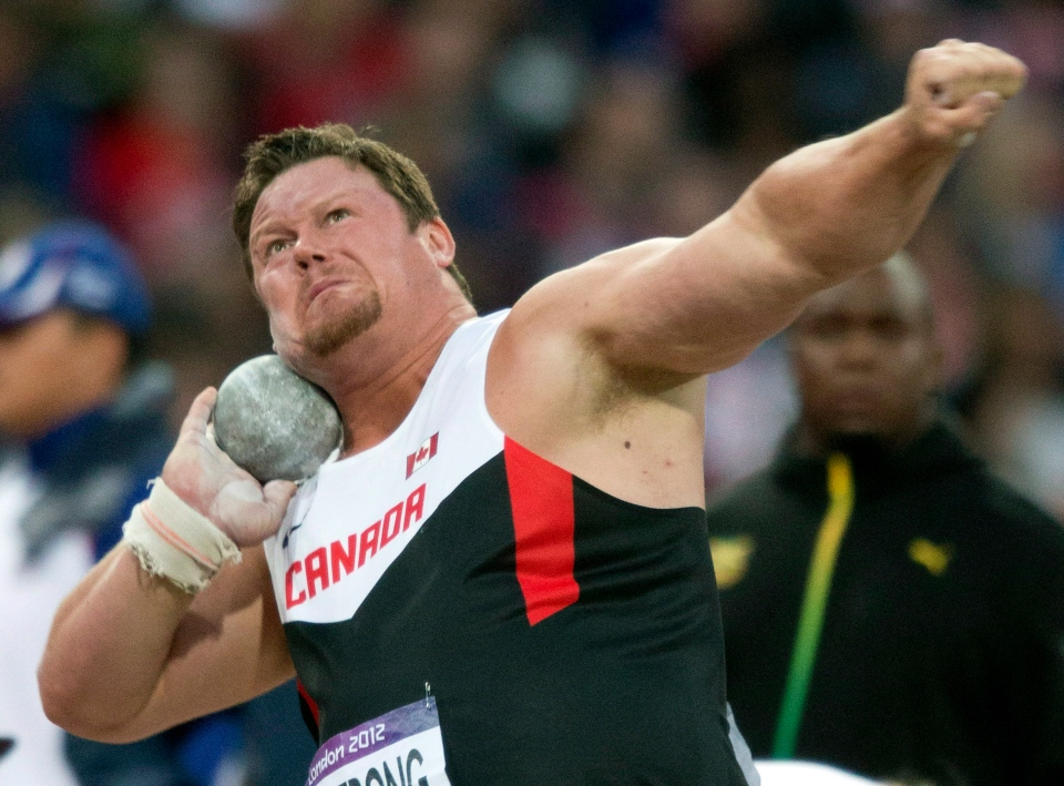 Dylan Armstrong of Canada throws in the finals of the shot put competition at the Olympic Games in London on Friday, Aug. 3, 2012. (Frank Gunn / THE CANADIAN PRESS)