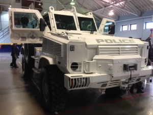 Durham Regional Police Service get an upgrade with their new tactical rescue vehicle, the RG-31, and CTV News has a first look.<br><br> A new Durham Regional Police vehicle is parked in the Colonel R.S. McLaughlin Armoury in Oshawa on Friday, March 8, 2013. (Craig Berry / CTV Toronto Photojournalist)