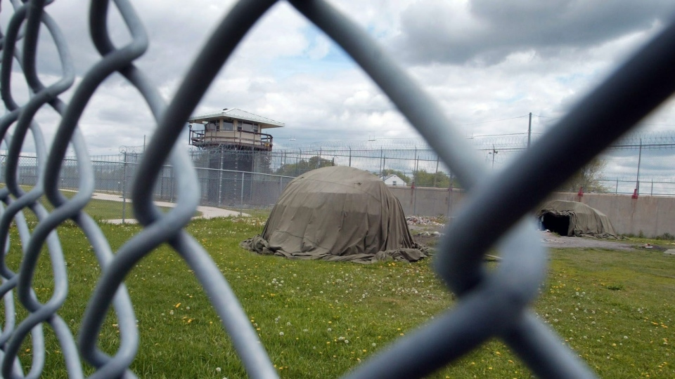 Sweat lodges are seen outside the Aboriginal Healing Range home at the Stony Mountain Institution in Stony Mountain, Manitoba, on May 19, 2006. (Winnipeg Free Press, Ken Gigliotti)
