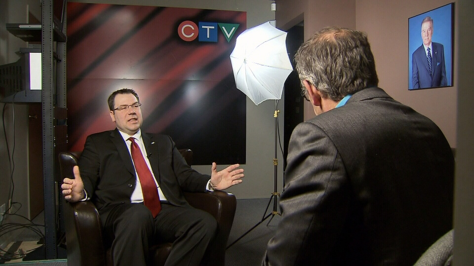JCI Canada President Jason Ranchoux speaks to CTV News reporter Kent Molgat about the Kelowna branch's all-male policy. March 7, 2013. (CTV)