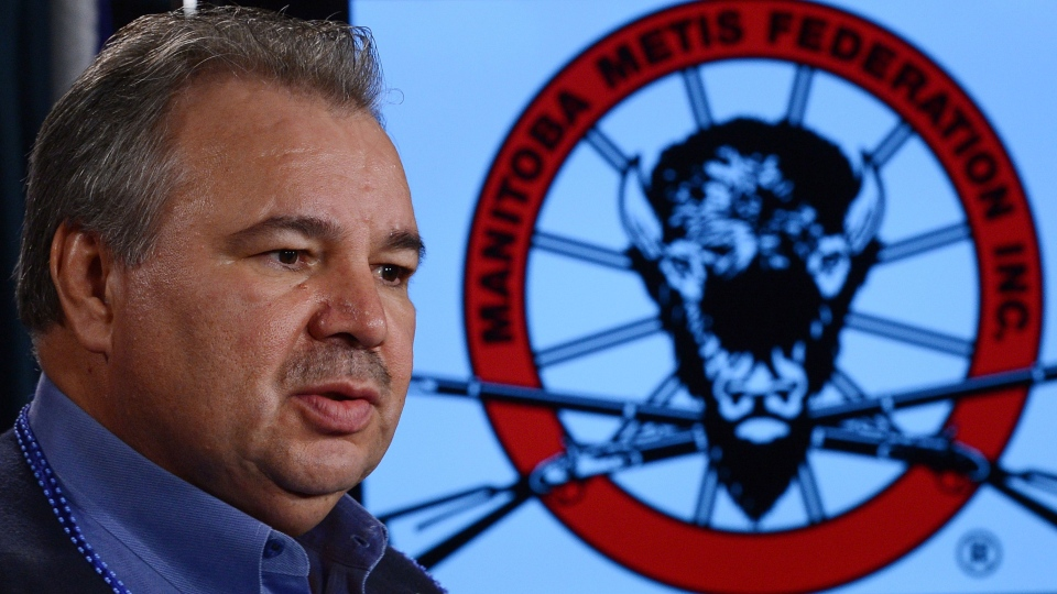 David Chartrand, president of the Manitoba Metis Federation, takes part in a press conference on Parliament Hill in Ottawa on Friday March 8, 2013. (Sean Kilpatrick / THE CANADIAN PRESS)
