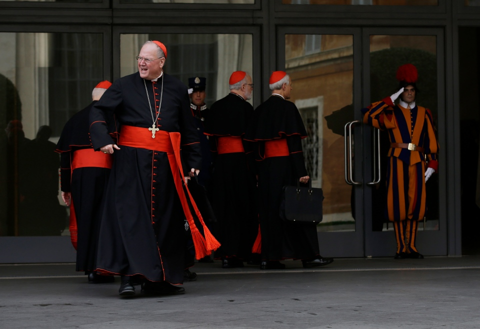 Cardinal Timothy Dolan arrives at the Synod hall at the Vatican, Saturday, March 9, 2013. (AP / Gregorio Borgia)