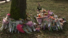 A memorial for Tyeshia Jones, 18, stands near the home she was last seen before her murder. Jan. 31, 2011. (CTV)